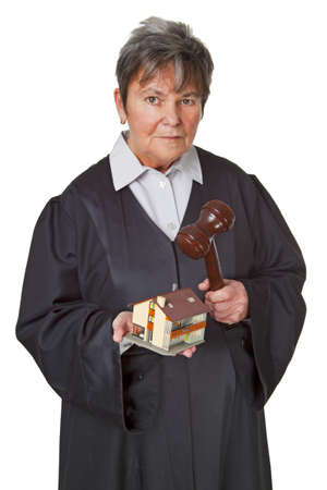 Female lawyer wearing a black robe isolated on white background Stock Photo - 8730599