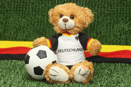 Teddy bear with football shirt on lawn background photo