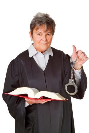 Vrouwelijke advocaat met statuutboek - geïsoleerd op witte achtergrond Stockfoto