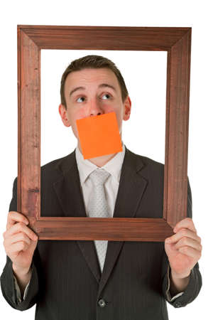Friendly businessman with wooden frame isolated on white background Stock Photo - 9157642