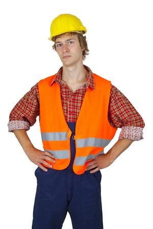zichtbaarheid: Jonge werknemers met zichtbaarheid vest geïsoleerd op witte achtergrond Stockfoto