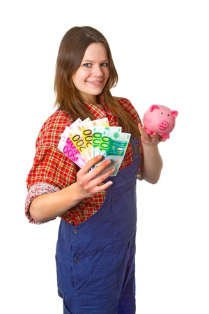 craftswoman: Young friendly craftswoman with euro banknotes isolated on white background Stock Photo