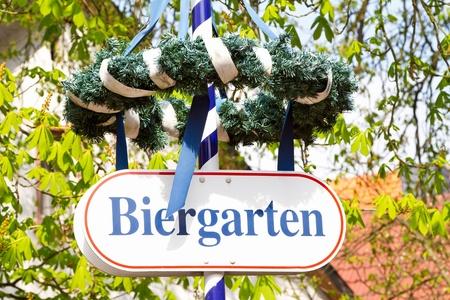 biergarten: Sign for a beergarden in Bavaria. Outdoor shot.   Stock Photo