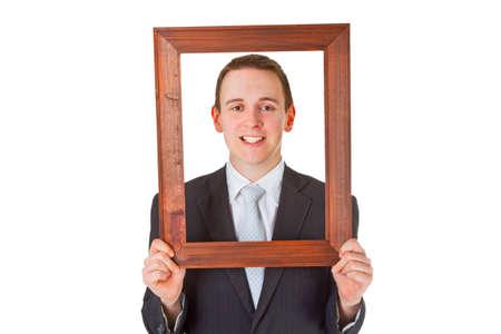 r image: Uomo d'affari amichevole con struttura in legno isolato su sfondo bianco