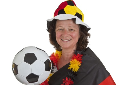 Female Soccer fans on white background Stock Photo - 9671145