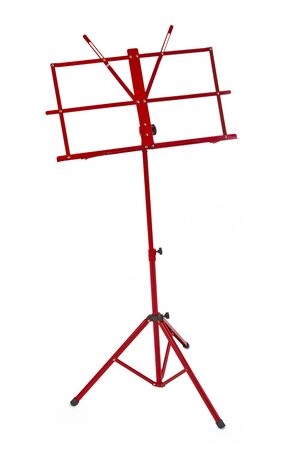 Red music stand isolated on white background photo