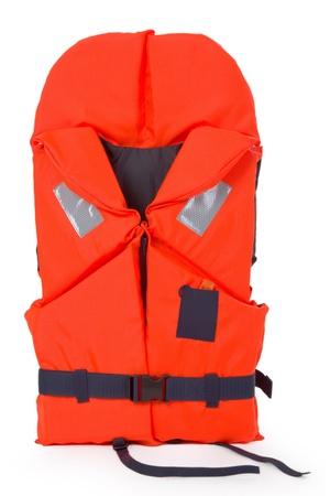 Oranje zwemvest voor activiteiten op het water - op een witte achtergrond Stockfoto