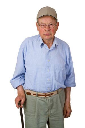 Male senior with walking stick isolated on white background. photo