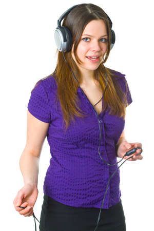 Beautiful young woman with headphones isolated on white background photo