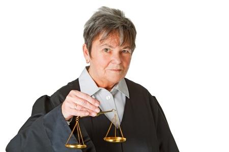 prosecutor: Female lawyer with scale balance - isolated on white background