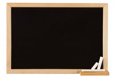 black boards: Empty blackboard with wooden frame and chalks
