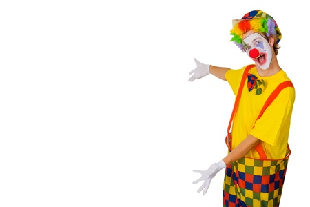 clown's nose: Colorful Clown isolated on whtie background