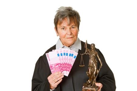 Female lawyer with money - isolated on white background photo