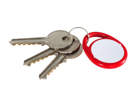 key fob: Key fob and keys isdolated on white background