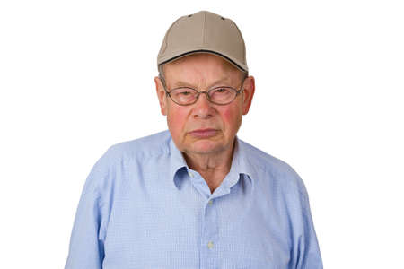 Male senior with cap isolated on white background. photo
