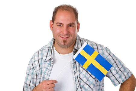 Young man holding swedish flag isolated on white background   photo