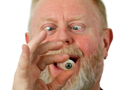 oculista: Oculista celebraci�n ojo de vidrio - aisladas sobre fondo blanco