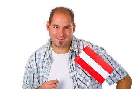 Young man with australia flag isolated on white background Stock Photo - 13464276