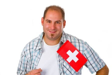 Young man with swiss flag - isolated on white background photo