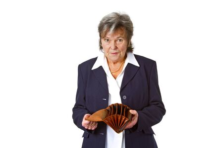 empty wallet: Female senior showing empty wallet - isolated on white background Stock Photo