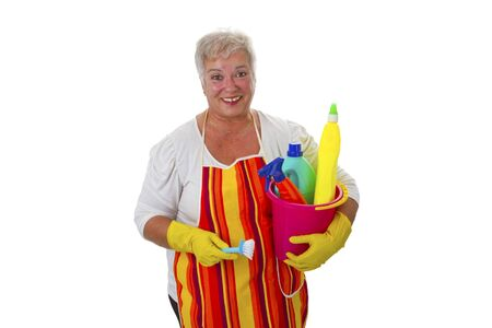 Female senior with  cleaning utensils - isolated on white background photo