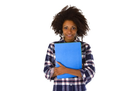 Female afro american with a job application - isolated on white background Stock Photo - 16828086