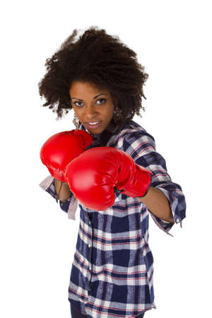 Female afro american with red boxing gloves - isolated on white background Stock Photo - 16828099