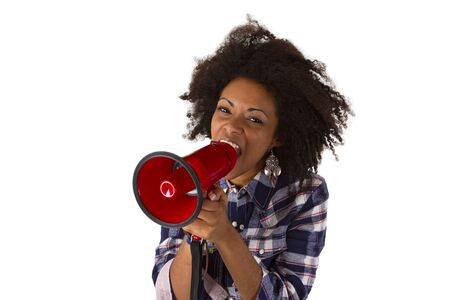 Young african american yelling at her megaphone isolated on white background Stock Photo - 16828089