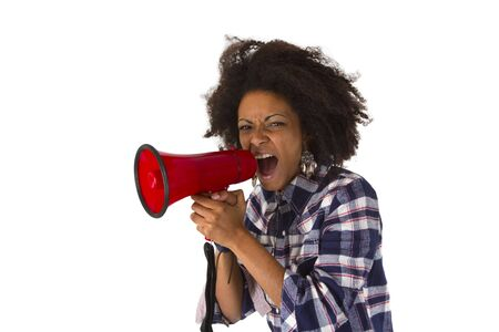Young african american yelling at her megaphone isolated on white background Stock Photo - 16828088