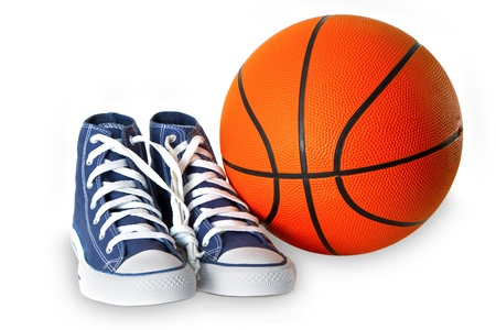 Blue sport shoes and basketball isolated on white background. Stock Photo - 17601273