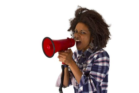 Young african american yelling at her megaphone isolated on white background Stock Photo - 17539403