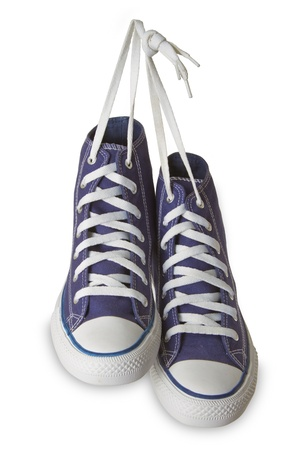 Blue sport shoes isolated on white background.  photo