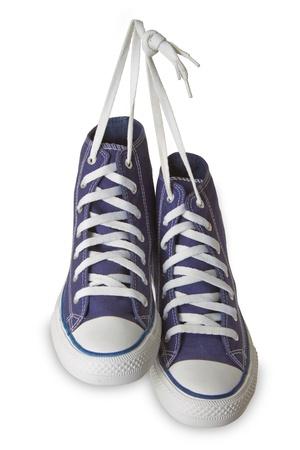 sports shoe: Blue sport shoes isolated on white background.  Stock Photo