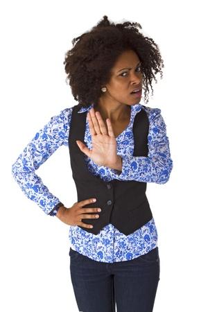 acoso laboral: Mujer Afro americano decir NO - aislada en el fondo blanco