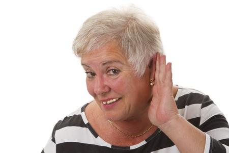 retirement  age: Hardness of hearing - isolated on white background Stock Photo