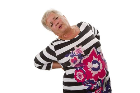 Female senior with backache - isolated on white background Stock Photo - 21380029