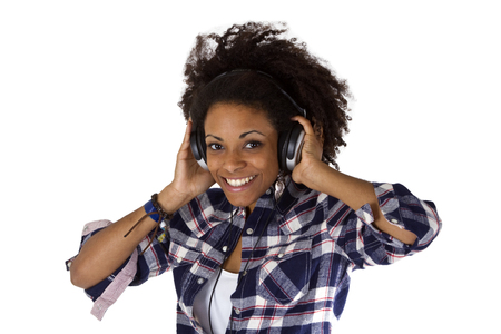 Young afro american with headphones - isolated on white background photo