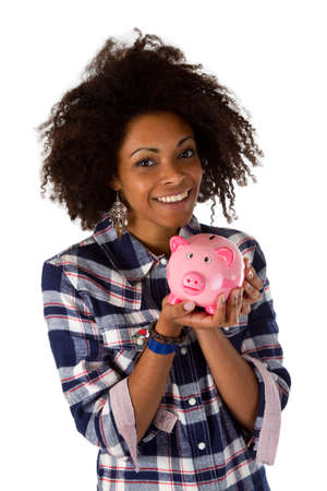 Young african american woman with piggy bank - isolated on white background photo