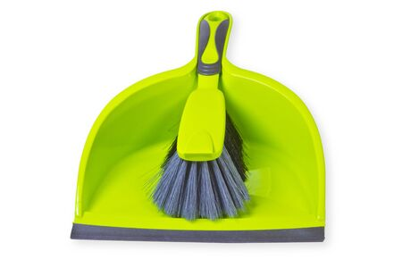 whie: Broom with dustpan isolated on whie background