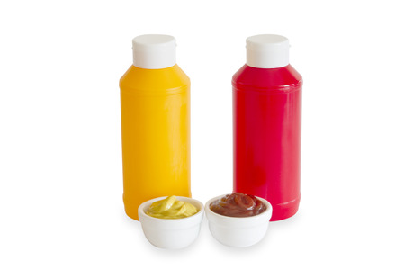 tomato catsup: Mustard and Ketchup in plastic bottles isolated on white background Stock Photo