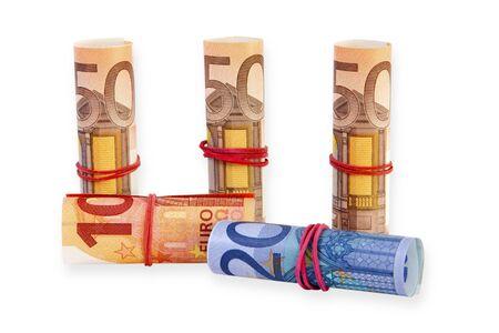 banconote euro: Euro banconote su sfondo bianco Archivio Fotografico