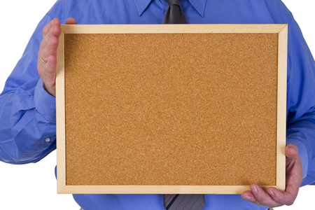 Businessman holding a empty pinboard photo