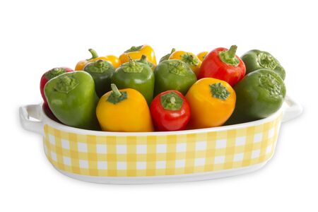 paprica: Colorful paprica in a beautiful bowl isolated on white background Stock Photo