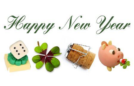 talisman: Happy New Year 2017 with Talisman Symbols on white Background