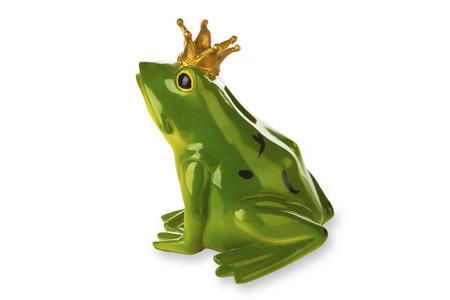 principe rana: La figura del pr�ncipe de la rana aislado en el fondo blanco Foto de archivo