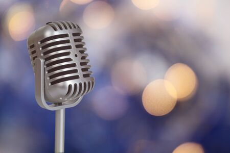 shure: Retro Microphone with bokeh background_This is no SHURE Microphone Stock Photo