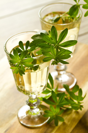 sweet woodruff: Woodruff Punch with Woodruff Herbs on bright background Stock Photo