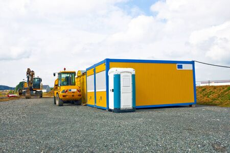 industrail: Industrail Site Container and mobile Toilet outdoor Shot