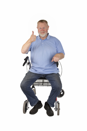 Male Senior with rollator isolated on white background Stock Photo