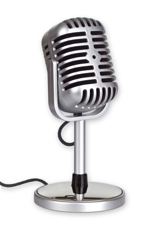 shure: Retro Microphone isolated on white background_This is no SHURE Microphone
